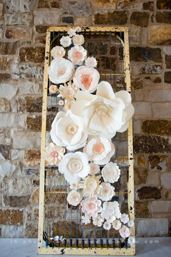 Delicate pink and cream giant paper flower backdrop