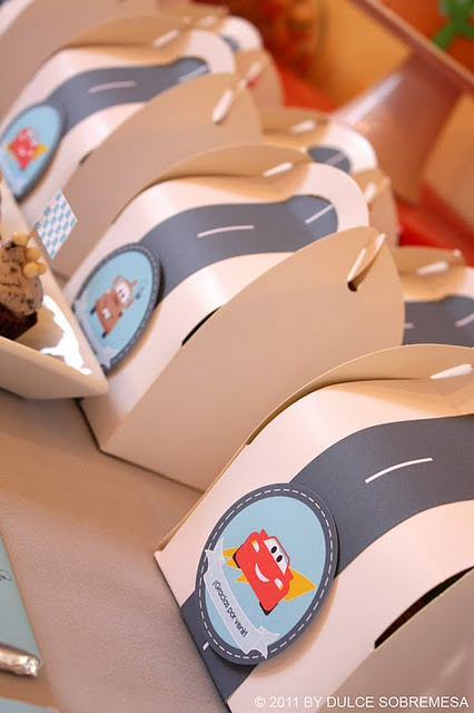 Cars Party - Favor Boxes.  Guaranteed:  the young kids will like these favor boxes more than the stuff inside!