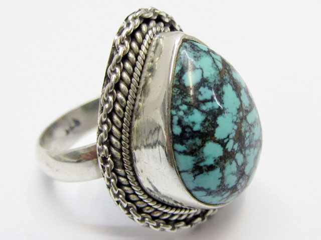 Beuatiful  Turquoise Ring Size    7.5   MJA353  NATURAL TURQOUISE GEMSTONE RING   FROM GEMROCKAUCTIONS.COM