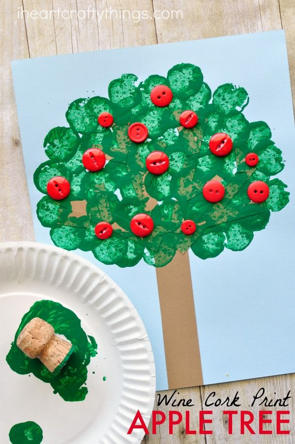 This wine cork stamped apple tree craft makes a fabulous fall kids craft, preschool craft and apple craft for kids.