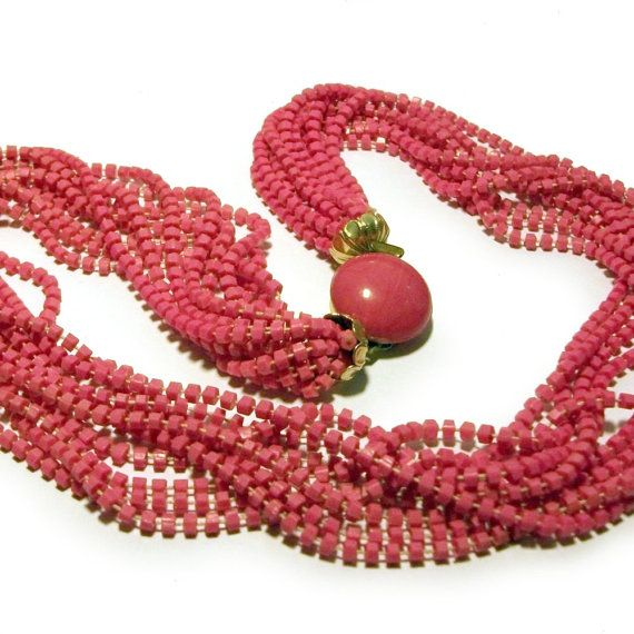 1960s Vintage Pink Multi Strand Necklace Austria Bubblegum Pepto Bismol Kitsch Resort Retro
