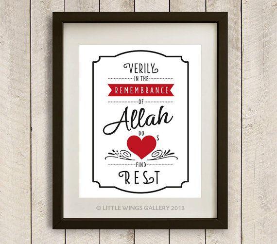 "Digital Download, ""Remembrance of Allah"" Quran Quote, (POP PRINT) - D.I.Y Printable, Modern Islamic Wall Art"