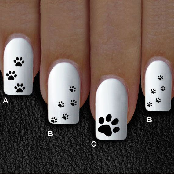 60 nail decal, cat paw, dog paw,Nail Art,  Water Slide Decals Nail,Nail Art desi…