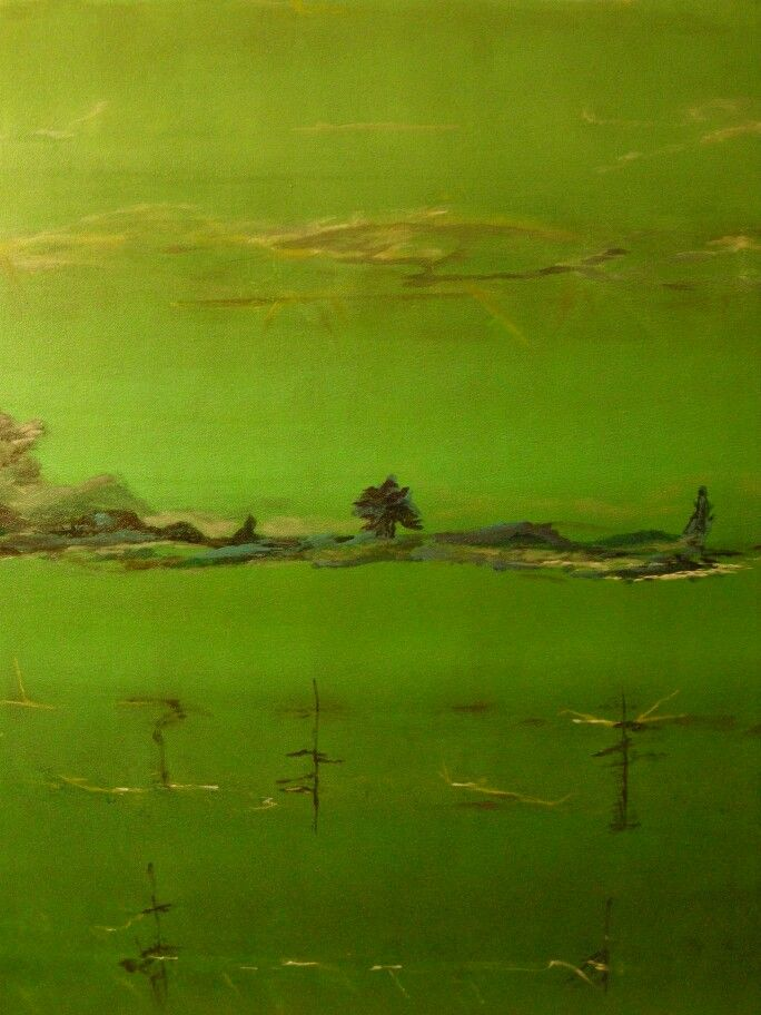 Green silence by marjacq.art. oil on canvas. 50 x 90 cm.