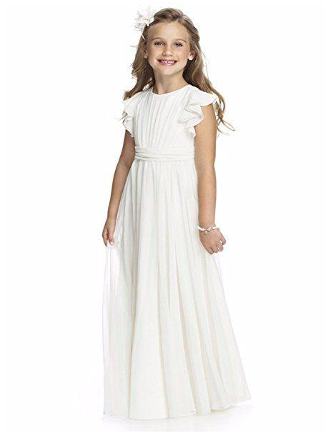 GU ZI YANG Simple Chiffon Floor Length Flower Girl Communion Wedding Dress 16