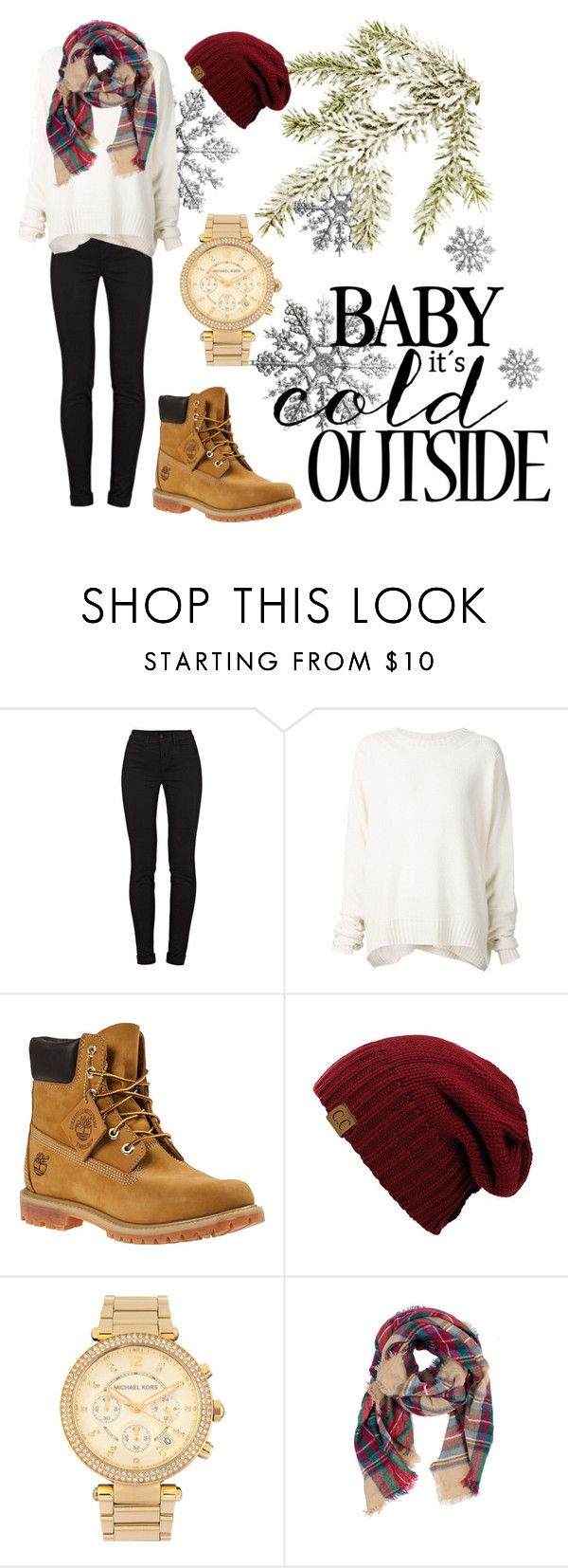 """Baby it's cold outside"" by rosa-linda ❤ liked on Polyvore featuring J Brand, URBAN ZEN, Timberland, Michael Kors, Look by M, Christmas, winterfashion, winterstyle, winter2015 and Christmas2015"
