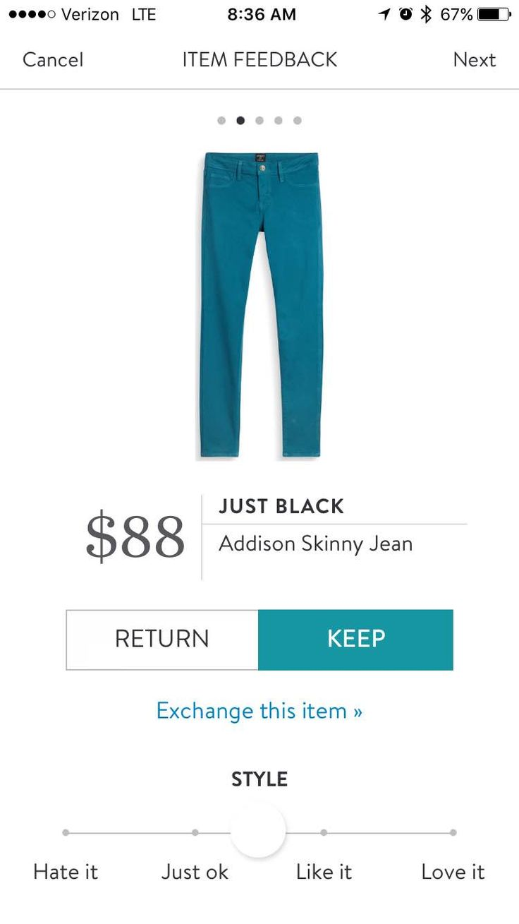 Just Black Addison Skinny Jean in teal: I received these in my first fix...they are my favorite and fit perfectly