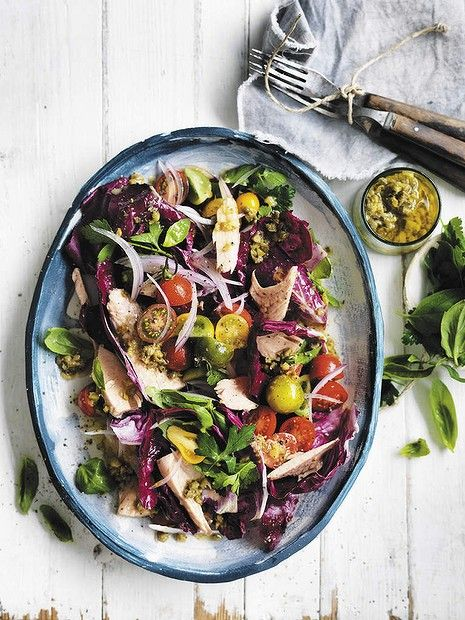 "Neil Perry's tuna with herb salad, capers and lemon dressing <a href=""http://www.goodfood.com.au/good-food/cook/recipe/tuna-with-herb-salad-capers-and-lemon-dressing-20130812-2rqwc.html""><b>(recipe here).</b></a>"
