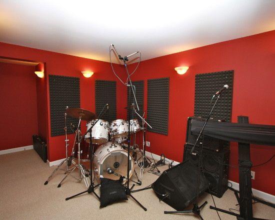Inspiring Home Recording Studio Design: Home Recording Studio Design Idea  With Contrast Wall And Wood