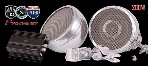 Designed to be loud and clear even at highway speeds, the Classic Edition™ motorcycle speaker system pushes 300 watts of true handling power and easily mounts to the handlebars or highway bars of your Harley-Davidson®, Honda, Yamaha, Victory and more.
