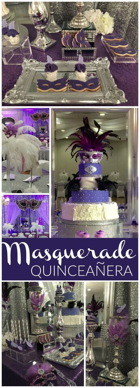 You have to see this gorgeous purple masquerade party! See more party ideas at CatchMyParty.com!