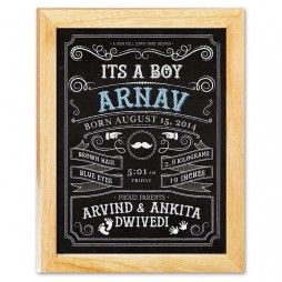 It's a Boy - Birth Announcement Chalkboard Canvas Print