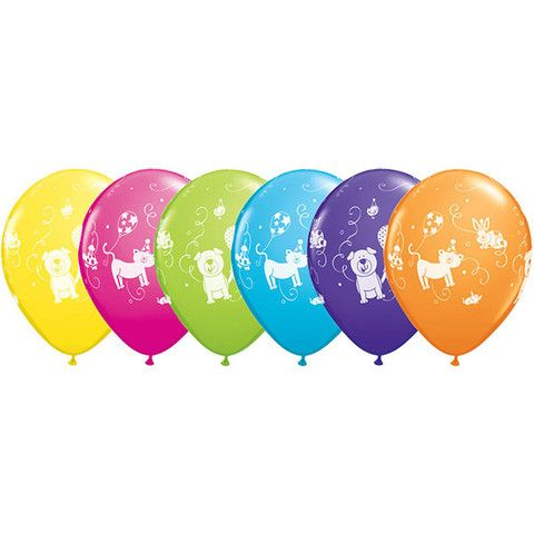 Cute and Cuddly Pets Latex Balloons (1).  These adorable pets brightly coloured balloons are perfect for your puppy, kitten or pet themed party  Assorted Designs; price is per (1) single balloon;  28cm; Latex