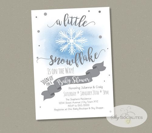 Adorable Winter Baby Shower Snowflake Invitation by Shy Socialites