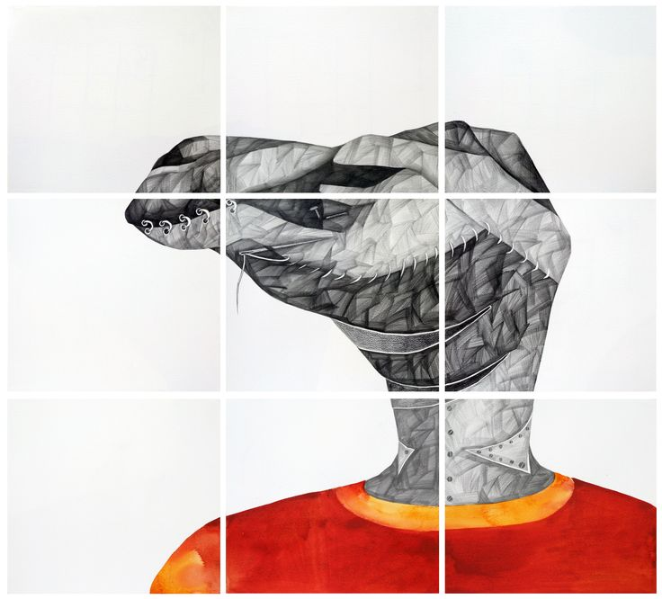 'C' for Camel,  by Phaneendra Nath Chaturvedi Pencil & Water Colour on Archival Paper,  30 X 33inc.,  Work in 9 units (each unit 10 X 11 inc.), 2011 — in Gurgaon.