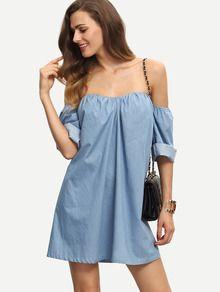 Vestido hombro al aire holgado -azul