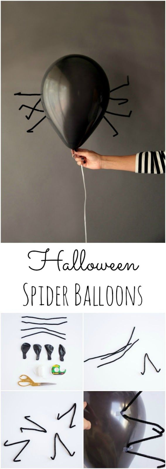 Halloween Spider Balloons made simply with a black helium balloons and pipe cleaners!