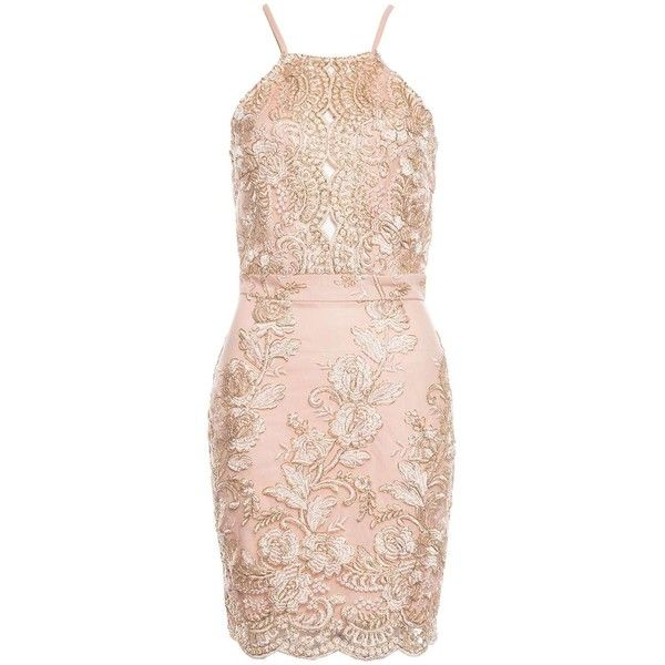 *Quiz Nude and Gold Bodycon Dress ($50) ❤ liked on Polyvore featuring dresses, pink dress, dorothy perkins, gold dresses, pink cocktail dress and body conscious dress