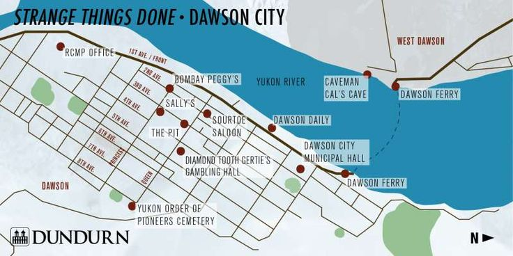 A map of northern Dawson City, the setting for Strange Things Done by Elle Wild.