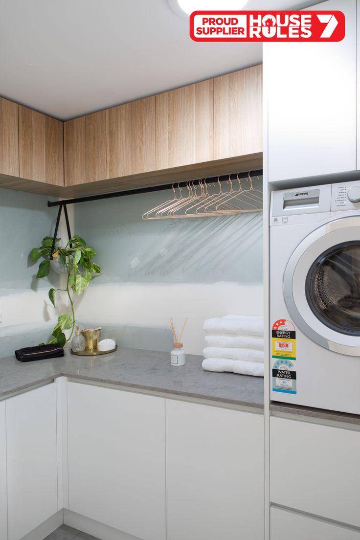 House Rules QLD laundry in polytec Natural Oak Ravine and Crisp White Legato.