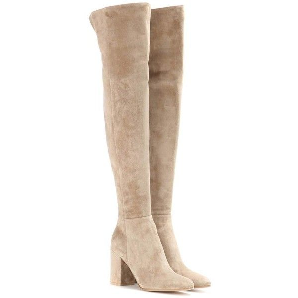 Gianvito Rossi Rolling 85 Suede Over-the-Knee Boots ($1,785) ❤ liked on Polyvore featuring shoes, boots, scarpe, beige, beige suede boots, suede thigh-high boots, thigh boots, thigh high boots and over the knee boots