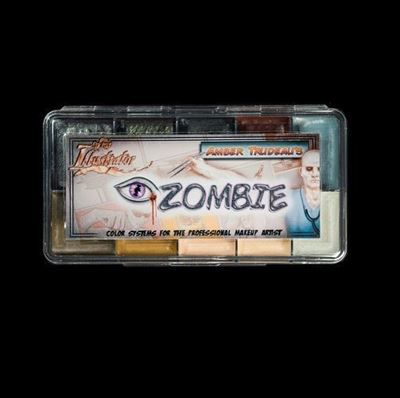 The iZombie Palette was created by Department Head Amber Trudeau for the TV series iZombie. It  includes two new colors Moore'gue Bruise and Pooled Blood unique to this palette.
