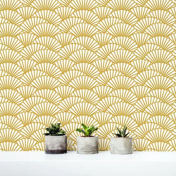 Papier peint or massif / fond d'écran amovible de pétoncles / autocollant papier peint / géométrique motif revêtement mural - 145