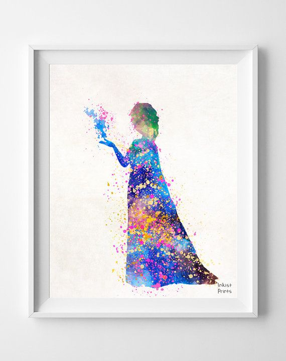 Frozen Poster, Elsa Print Watercolor, DIsney Painting, Elsa Illustration Art, Watercolour, Wall Art, Nursery, Fine Art, Home Decor [NO 236] on Etsy, $9.95