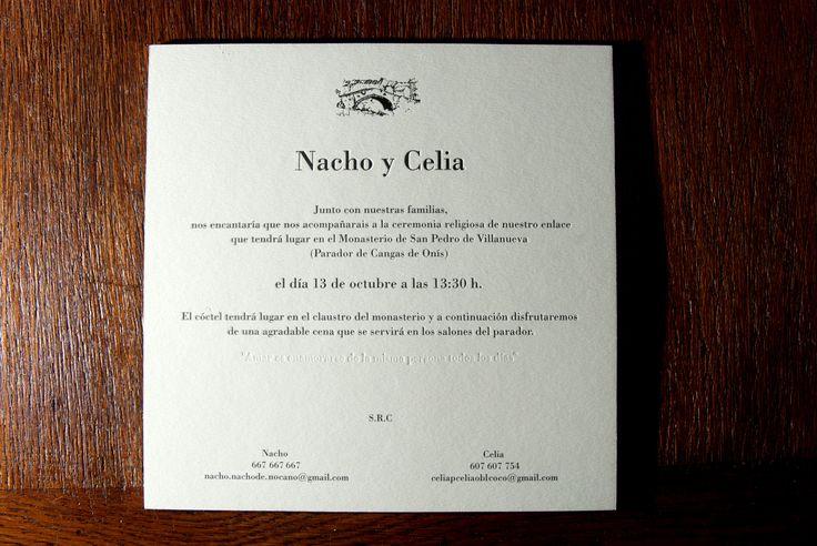Invitaciones con 3 niveles de presión Letterpress con cantos en plata y 2mm de grosor y golpe en seco. Gracias Celia y Nacho! La Imprenta Vintage