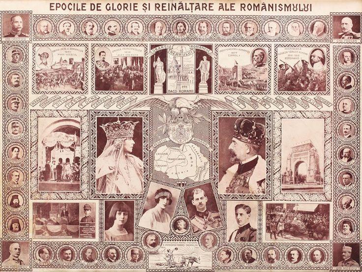 """Afiș """"Epocile de glorie și reînălțare ale Românismului"""", desen de G. Chiriac, anii '20"""