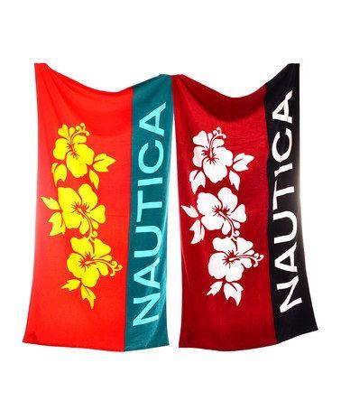 Look what I found on #zulily! Red & Orange Nautica Beach Towel Set by Nautica #zulilyfinds