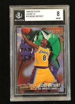 cool 1996 KOBE BRYANT Lakers Fleer Lucky 13 Rookie RC Card Graded PSA BGS 8 sb 9 - For Sale View more at http://shipperscentral.com/wp/product/1996-kobe-bryant-lakers-fleer-lucky-13-rookie-rc-card-graded-psa-bgs-8-sb-9-for-sale/