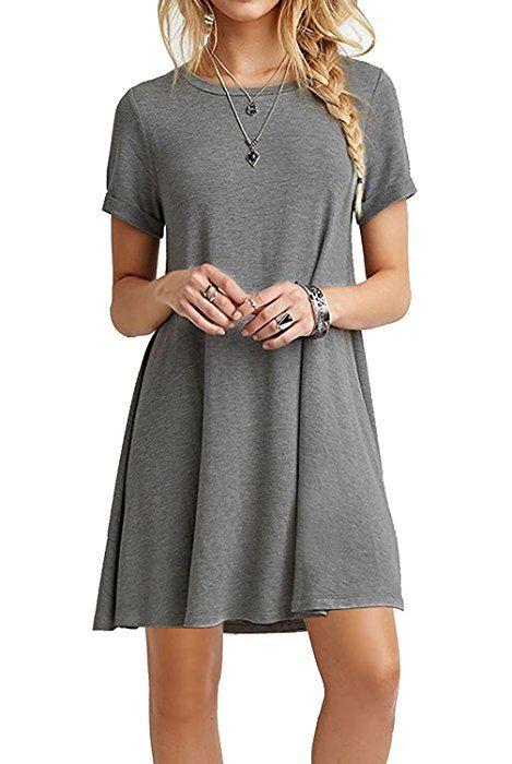 3bf47b3436e POSESHE Women's Short Sleeve Casual Swing Plain T-Shirt Dress Grey XL at Amazon  Women's Clothing store: