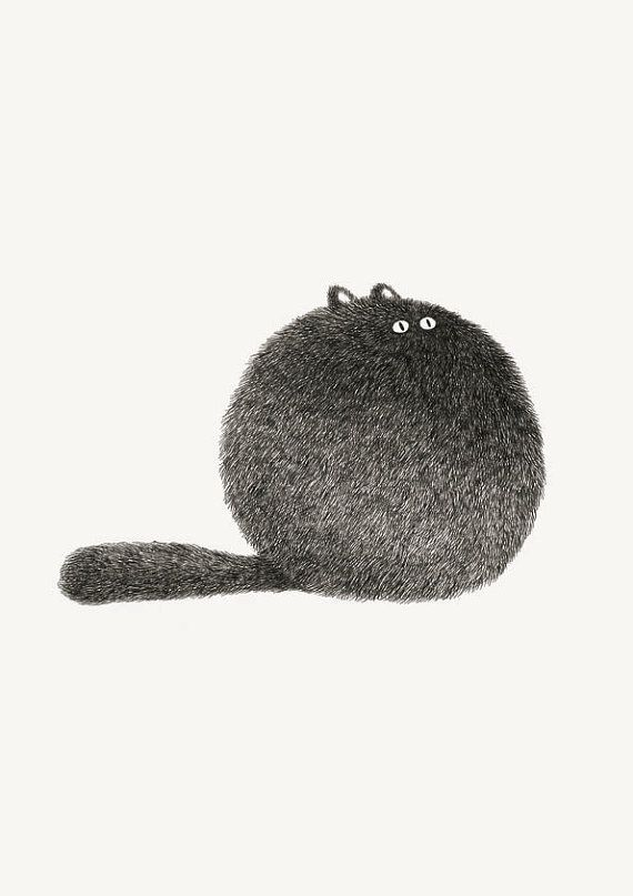 Kitty 3 by kam wei at work via #etsy #cat #print