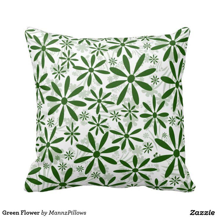 #Throw Pillow #Cushion Green Flower Throw Pillow from $29.95