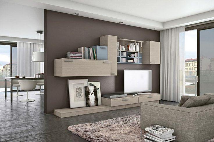 modules muraux, tiroirs et étagères en chêne dans le salon avec peinture murale marron