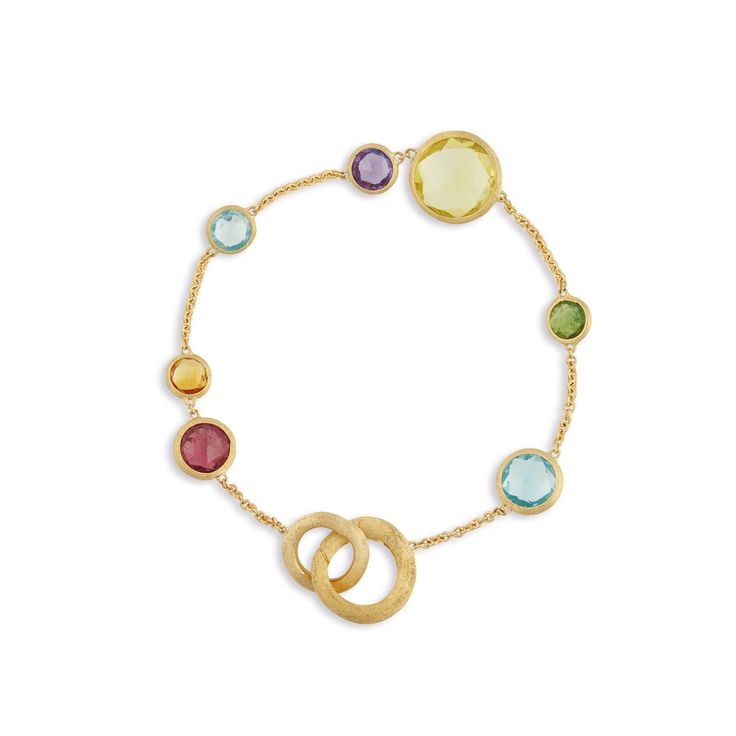 Marco Bicego 18K yellow gold link bracelet with rose cut cushion multi-colored semi-precious gemstones. Inspired by a tropical Indian sunset and the stone-cutting heritage of Jaipur, this Jaipur Color Multicolor Gemstone Bracelet is hand engraved by Italian artisans. Now available at Diamond Dream Fine Jewelers https://www.facebook.com/DiamondDreamFineJewelers https://twitter.com/Diamond_Dream_ https://plus.google.com/+DiamondDreamFineJewelersBernardsville https://www.instagram.com/diamo