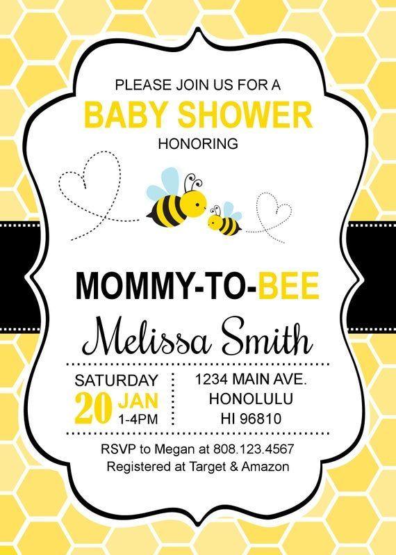 Baby Shower Invitations Honey Bee