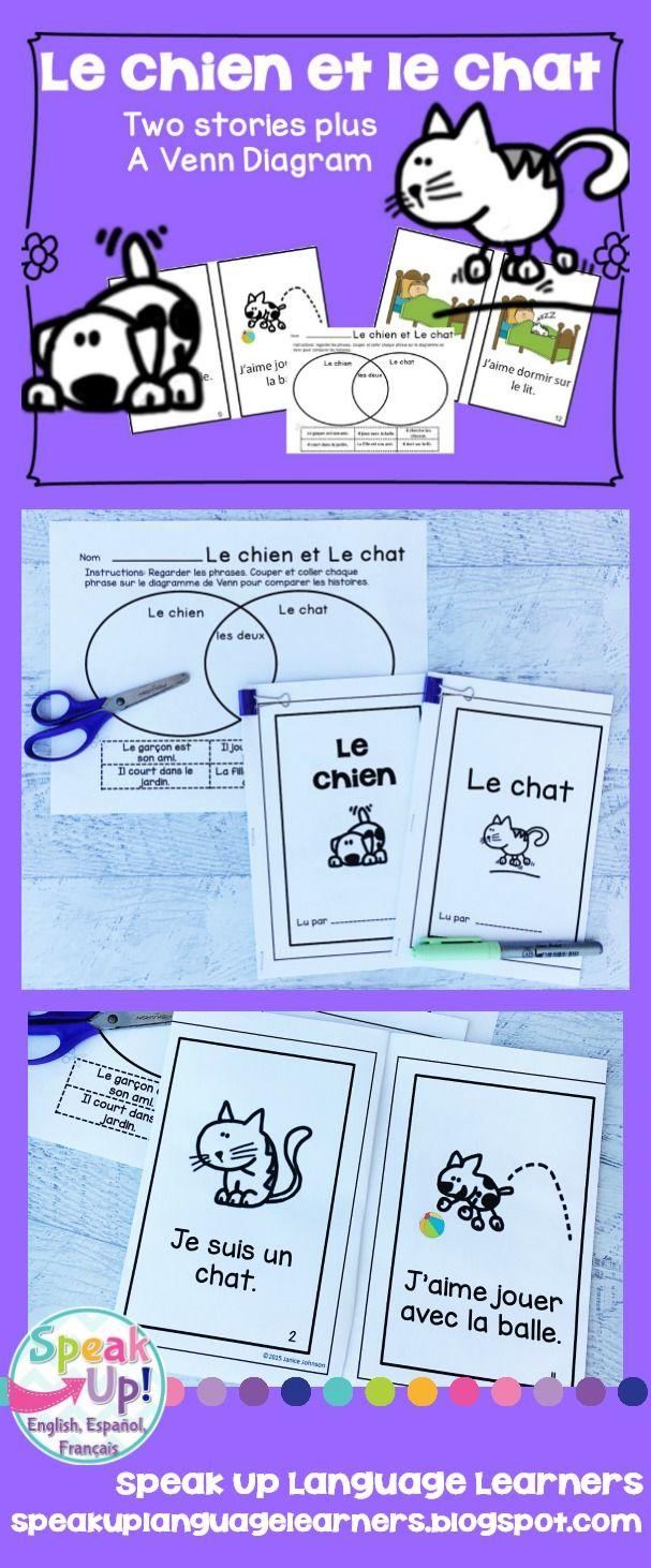 Le chien & Le chat ~ Two French Cat & Dog Readers & Venn Diagram {en français}
