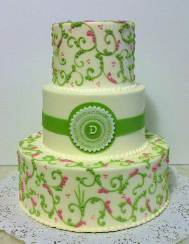 Beautiful green and pink paisley with monogram cake from Premier Pastry. Check out our blog all week long for tips on how to decide on your wedding cake!