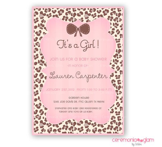baby shower leopard pink printable invitation baby showers babies