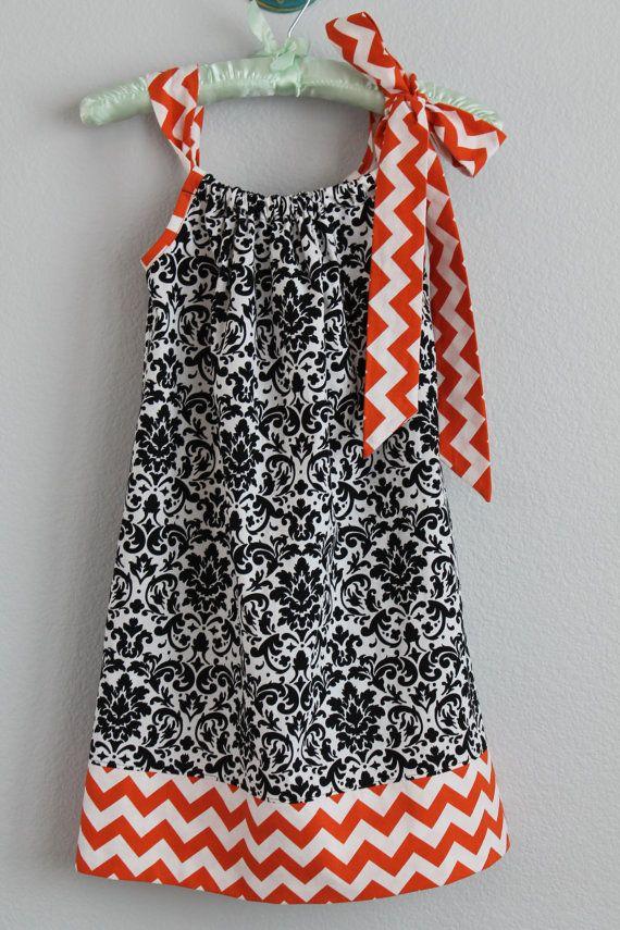Size 6 Girl Orange Chevron and Black Damask Halloween Pillowcase Dress, Orange and Black Dress