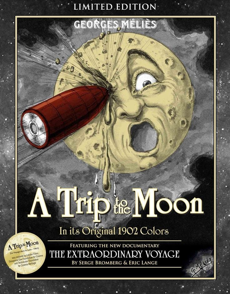 1902:A Trip to the Moon French silent film directed by Georges Méliès. Inspired by a wide variety of sources, including Jules Verne's novels From the Earth to the Moon and Around the Moon, the film follows a group of astronomers who travel to the Moon in a cannon-propelled capsule, explore the Moon's surface, escape from an underground group of Selenites (lunar inhabitants), and return to Earth with a captive Selenite.(HG)