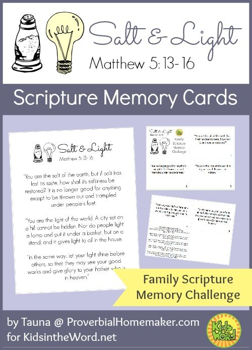 Salt and Light Scripture Memory Cards. Christian bible memory resource from KidsintheWord.net