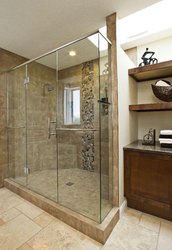 Kylie M Interiors: Stone Inspired Ensuite - Bathroom Remodel Nanoose Bay.