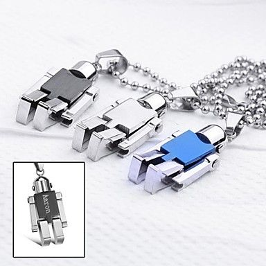 Personalized Gift  Jewelry Robot Shaped  Engraved Pendant Necklace with  60cm Chain  – USD $ 6.99