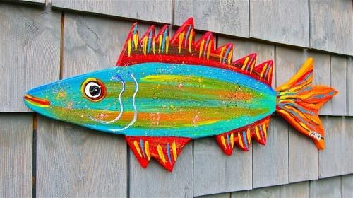 FOLK FiSH WOOD CUT-OUT~Maine FOLK ART outsider~COASTWALKER