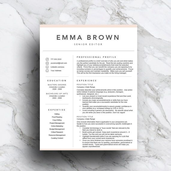 Resume Template for Word CV Template von TheWriteStuffResumes