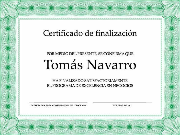 Certificado de participación (verde)