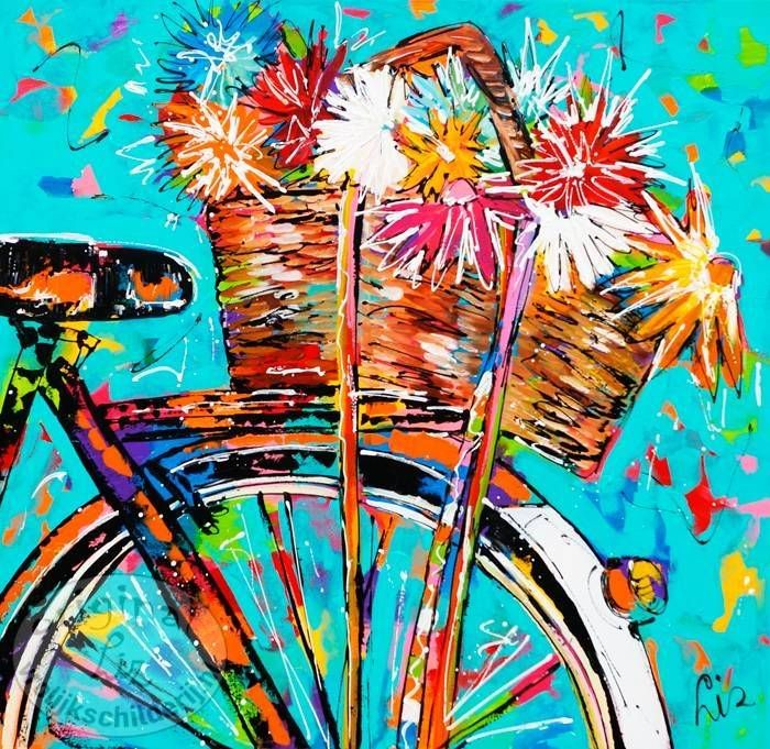 Fiets met bloemenmand - Vrolijk Schilderij